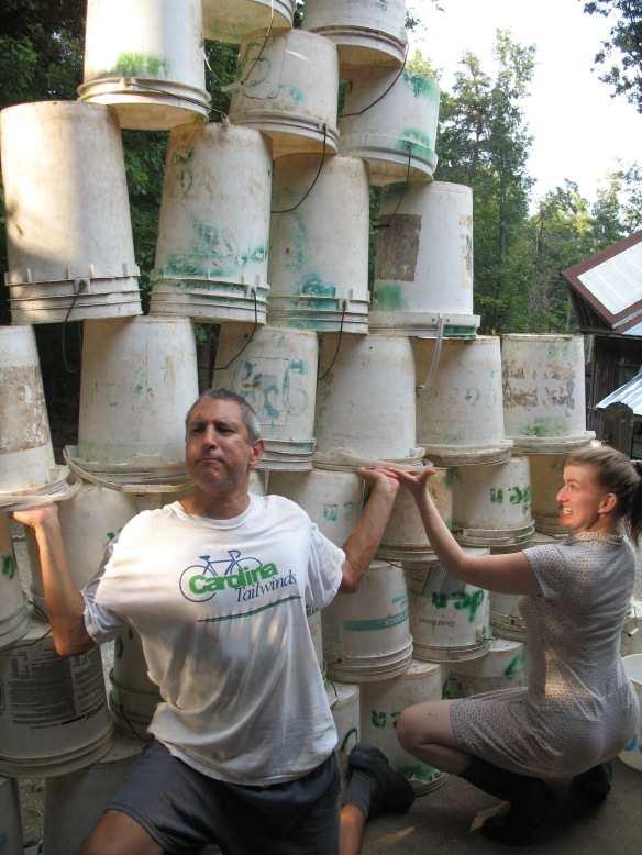 Having plenty of 5 gallon buckets is important. Credit Bridget Aleshire
